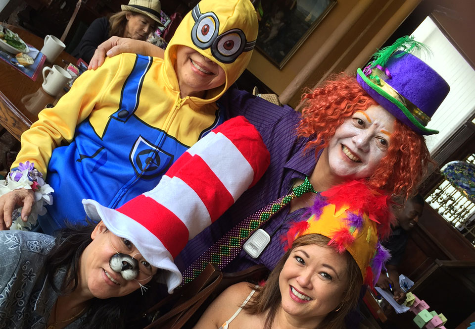 image of Debra New and some friends at the Mad Hatter Tea Party.